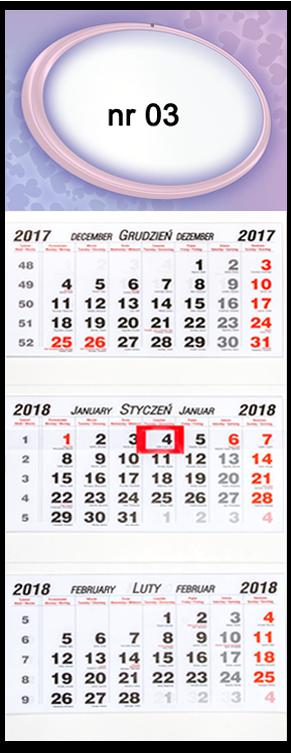 fotokalendarz trójdzielny walentynki